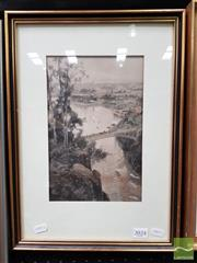 Sale 8491 - Lot 2024 - Frederic B. Schell (1838 - 1900) - Launceston from Cataract Bridge 26.5 x 17.5cm (frame size: 43.5 x 32cm )