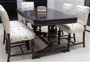 Sale 8782A - Lot 136 - An Oak dining table in the Jacobean revival style with ebonized finish 78 x 152 x 83.5cm