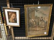 Sale 8776 - Lot 2036 - 2 Works: French Rococo Scene Hand-Coloured Engraving, plus a Botticelli Decorative Print -