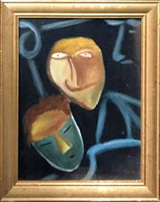 Sale 8856 - Lot 2065 - Kym Hart - Masked/Unmasked 1983oil on canvas board, 48 x 38cm, signed verso