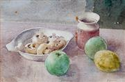 Sale 8947 - Lot 556 - Julian Ashton (1851 - 1942) - Apples, Lemon & Mushrooms, c1900 17 x 26 cm (frame: 37 x 44 x 3 cm)