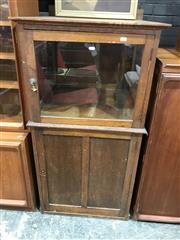 Sale 9031 - Lot 1044 - Maple Medical or Display Cabinet, the glazed top section with a panel door & timber door below (base has no floor)