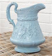 Sale 9066H - Lot 157 - A Victorian blue glazed Ridgways Pottery jug with tavern scene and hunting decoration, Height 30cm (missing lid)