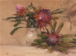 Sale 9133 - Lot 501 - Robert Hagan (1947 - ) Waratahs oil on canvas 44 x 59.5 cm (frame: 70 x 85 x 8 cm) signed lower left