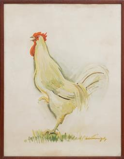 Sale 9164H - Lot 38 - Anne Marie Joly, coq, lithograph, signed lower right, frame size 70cm x 54.5cm