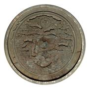 Sale 8620A - Lot 47 - A bronze disc with birds and trees, showing age, marked, D 13cm
