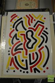 Sale 8461A - Lot 2096 - Jack Vigor (Street Artist, CASPER) (3 works) - Untitled (Black, Red, Yellow) 42.5 x 30cm, each
