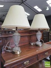 Sale 8428 - Lot 1087 - Pair of Crystal & Brass Table Lamps (H 70cm)