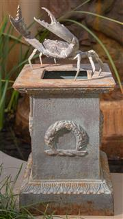Sale 8568A - Lot 32 - A cast iron square pedestal, together with a crab, H of pedestal 32cm