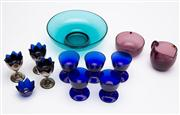 Sale 8590A - Lot 89 - A small quantity of mainly coloured glassware including Finnish, Bristol Blue, and egg cups