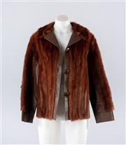 Sale 8760F - Lot 60 - A Cornelius, Sydney fur jacket with leather trim to collar and sleeves, approx size 8/10