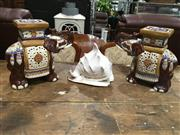 Sale 8795 - Lot 1027 - Pair of Elephant Plant Stands & Conch Shell (3)