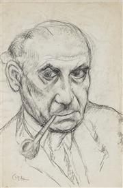 Sale 8908A - Lot 5025 - Desiderius Orban (1884 - 1986) - Self Portrait With a Pipe 44.5 x 28 cm