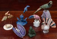 Sale 8963H - Lot 76 - A group of carved stone birds and a butterfly made from agate slice and other stones, tallest 19cm (lapis bird missing one wing)