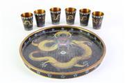 Sale 8972 - Lot 33 - Cloisonne Dragon Themed Dish Dia 20cm With Six Shot Glasses
