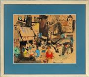 Sale 9028 - Lot 2039 - French School - Street Scene 31 x 39.5 cm (frame: 49 x 57 x 4 cm)