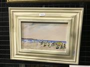 Sale 8990 - Lot 2044 - Donald Fraser, Beach Scene, oil on board, frame: 25 x 35 x 3 cm, signed