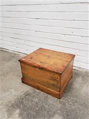 Sale 9059 - Lot 1054 - Pine Lift Top Box  (box h:30 x w:48 x d:31cm)