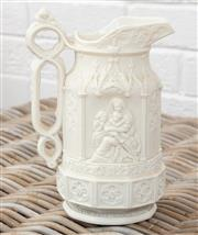 Sale 9066H - Lot 158 - A Victorian Charles Meigh jug with mother and children in relief decoration, Height 21cm