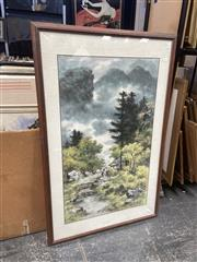 Sale 9091 - Lot 2091 - Kim Kwang Chul Pagoda in the Mountains ink and watercolour 123 x 78cm (frame) signed