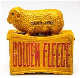 Sale 9114 - Lot 72 - Golden fleece themed reproduction cast iron money box (H 14cm)