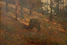 Sale 9150J - Lot 73 - EDMUND CIECZKIEWICZ (1872 - 1958, POLISH) Figure in the forest oil on board 31x46cm