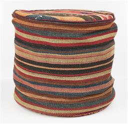 Sale 9199J - Lot 86 - A Turkish kilim covered ottoman/footstool in autumnal tones, Height 40cm x Diameter 45cm