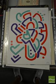 Sale 8461A - Lot 2093 - Jack Vigor (Street Artist, CASPER) (3 works) - Untitled (Red, Aqua, Purple) 42.5 x 30cm, each