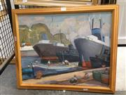 Sale 8767 - Lot 2030 - Artist Unknown - Ship in port, oil