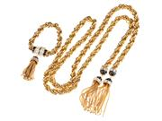 Sale 8837 - Lot 362 - RACHAEL ZOE NECKLACE AND BRACELET SUITE; both gilt metal rope twist chain interwoven with crystals with black enamel terminals and t...