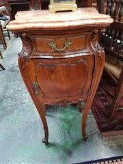 Sale 8868 - Lot 1084 - Pair of Louis XV Style Carved Walnut Bedside Cabinets, with marble tops, fitted with a drawer and panel door, on cabriole legs