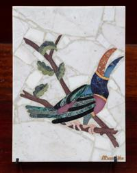 Sale 8963H - Lot 75 - A pietra dura panel of a Toucan, marked Mosalite, Height 18cm