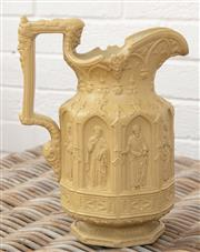 Sale 9066H - Lot 159 - A Victorian charles meigh apostle jug with ecclesiastical panel relief decoration in sand, Height 30cm