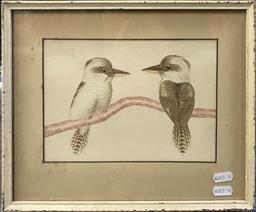 Sale 9106 - Lot 2006 - Artist Unknown (Tunny) Kookaburras, 1940 watercolour, 27 x 32 cm (frame) signed