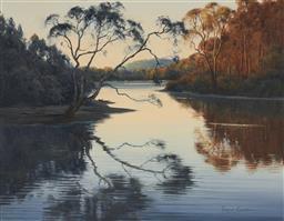 Sale 9133 - Lot 507 - Robyn Collier (1949 - ) Dawn Shadows on Back Creek oil on board 34 x 44.5 cm (frame: 52 x 62 x 4 cm) signed lower right