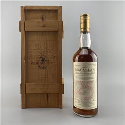 Sale 9165 - Lot 605 - 1963 The Macallan Distillers Anniversary Malt 25YO Single Highland Malt Scotch Whisky - distilled 1963, bottled 1988, 43% ABV, 700...