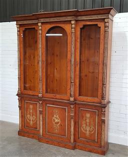Sale 9196 - Lot 1001 - Victorian Style Painted Pine Breakfront Vitrine or Display Cabinet, with three shaped glass panel doors, enclosing glass panel shelv...