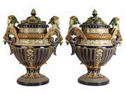 Sale 8387 - Lot 49 - Gerbing & Stephan Majolica Pair of Lidded Urns