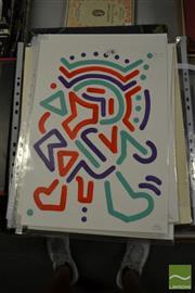 Sale 8461A - Lot 2091 - Jack Vigor (Street Artist, CASPER) (3 works) - Untitled (Red, Aqua, Purple) 42.5 x 30cm, each