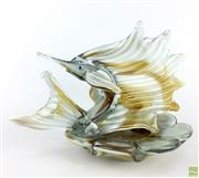 Sale 8589R - Lot 90 - Art Glass Marlin Centrepiece (W: 33cm)