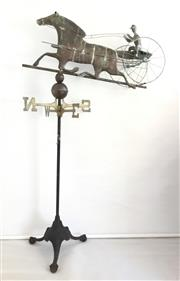 Sale 8600A - Lot 1 - Antique copper horse carriage weather vane on cast iron stand, H 150 x L 85cm.