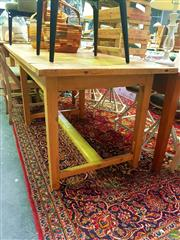 Sale 8648 - Lot 1019 - Timber Dining Table on Stretcher Base (H: 78 L: 238 W: 80cm)