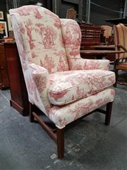 Sale 8848 - Lot 1016 - Georgian Style Wingback Armchair, upholstered in 18th century themed red print fabric, on square legs