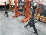 Sale 8863 - Lot 1005 - Pair of Modern Black Painted Firedogs