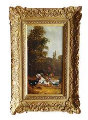 Sale 8891H - Lot 36 - HENRY SCHOUTEN (1857 - 1927) Belgium - Chickens in a Field 36.0 x 18.0cm