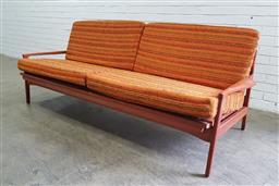 Sale 9134 - Lot 1014 - Vintage Teak click-clack lounge by Fler Narvik (h:71 x w:207 x d:74cm)
