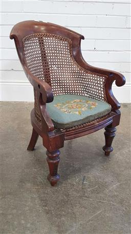 Sale 9196 - Lot 1072 - Victorian Mahogany Childs Armchair, with curved caned back & seat, loose green fabric cushion, raised on turned legs (h:63 x w:49 x...
