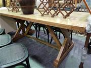 Sale 8390 - Lot 1154 - Oak Stretcher Based Dining Table (210)