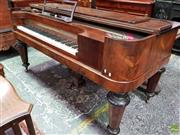 Sale 8576 - Lot 1017 - Mid 19th Century Richard Lipp of Stuttgart Rosewood Pianoforte, of rectangular form, raised on turned faceted legs, with harp shaped...