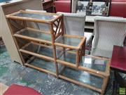 Sale 8601 - Lot 1522 - Cane Stepside Open Bookshelf with Glass Shelves